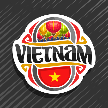 Vector for Vietnam country, fridge magnet with vietnamese state flag, original brush typeface for word vietnam and national vietnamese symbol - colorful paper lanterns on blue sky background. Ilustração