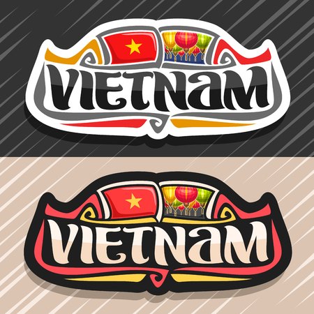 Vector for Vietnam country, fridge magnet with vietnamese state flag, original brush typeface for word vietnam and national vietnamese symbol - colorful paper lanterns on blue sky background. Illustration