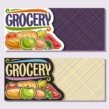 Vector banners for Grocery Store with copy space, organic fruits & vegetables, slice of cheese, fresh baguette, original brush typeface for word grocery, flyers for farmer department in eco market. Çizim