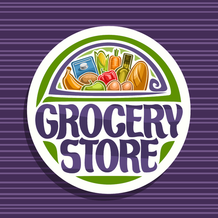 Vector for Grocery Store, white sign with cooking oil, french baguette, fresh fruits and vegetables, pack of milk and eggs, original typeface for words grocery store, signboard for farmer market. Illustration