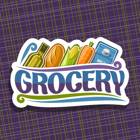 Vector for Grocery Store, white sign with cooking oil, french baguette, fresh vegetables and pack of milk in a row, original typeface for word grocery, signboard for farmer department in market.