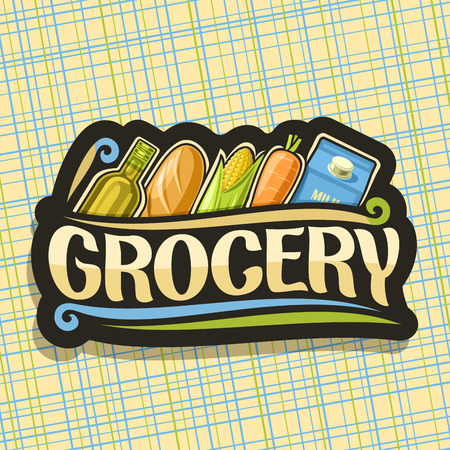 Vector for Grocery Store, black sign with cooking oil, french baguette, fresh vegetables and pack of milk in a row, original typeface for word grocery, signboard for farmer department in market.