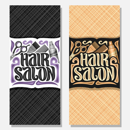 Vector vertical banners for Hair Salon, templates with hairdresser professional equipment, original brush typeface for words hair salon, design voucher with hairstyle tools for luxury beauty saloon.