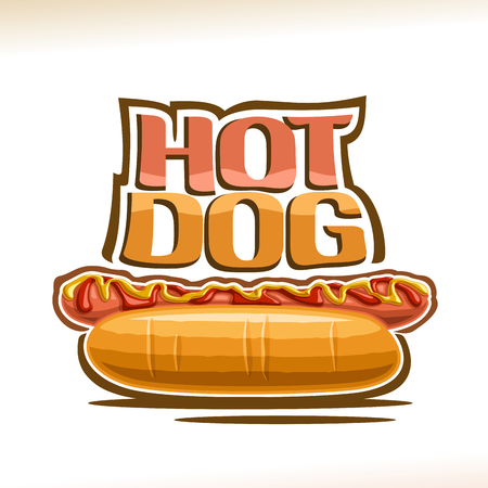 Vector poster for Hot Dog, pork sausage in fresh cut bun with yellow mustard and tomato ketchup, original typeface for words hot dog, logo for fast food restaurant menu. Standard-Bild - 109430926