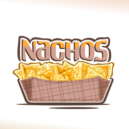 Vector poster for Mexican Nachos, triangle slices of corn chips poured melted cheese in cardboard dish, original typeface for word nachos, design logo for menu of fast food cafe with mexican cuisine.