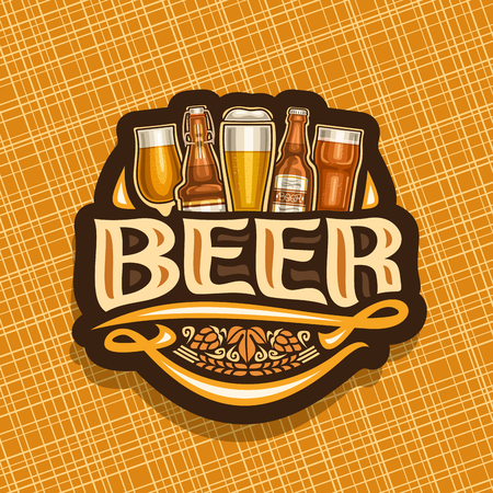 Vector logo for Beer, white sign with pint glasses of beer and bottles of craft german lager, original typeface for word beer, vintage coaster for bavarian bar with barley spikelets.