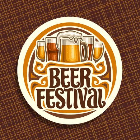 Logotipo vectorial para el Festival de la cerveza, cartel redondo blanco con vaso de pinta de cerveza pilsner checa y taza de cerveza artesanal alemana, tipografía de pincel original para festival de la cerveza de palabras, montaña rusa vintage para bar bávaro Logos