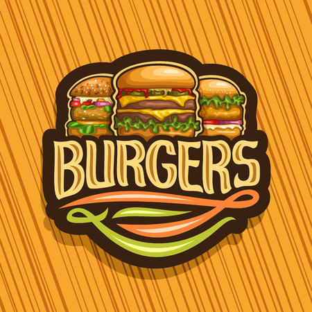 Vector logo for Burgers, dark sign with cheeseburger, fresh veggieburger and hamburger with fried chicken cutlet, original typeface for word burgers, illustration for american fast food restaurant. Ilustracja