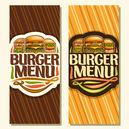 Vector banners for Burger Menu, leaflet with cheeseburger, veggieburger and hamburger with fried chicken cutlet, original typeface for words burger menu, illustration for american fast food restaurant Ilustracje wektorowe