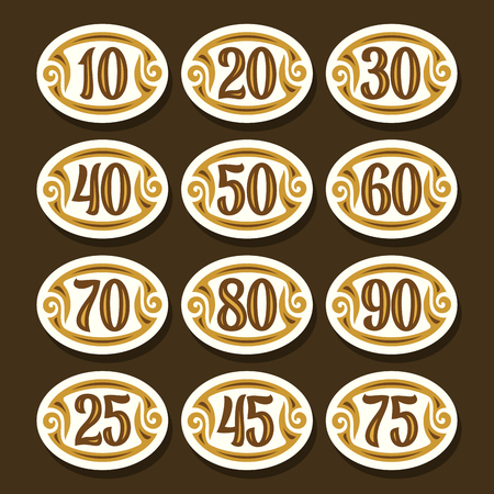 Vector set of Number icons for anniversary, white stylish symbols for wedding, collection of oval isolated objects with calligraphy numbers, illustration of simple numeral tags with retro flourishes.