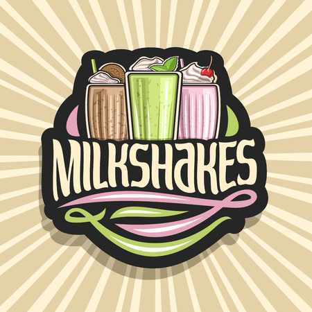 Vector logo for Milkshakes, 3 assorted dairy cocktails with soft serve ice cream decorated cherry and leaves of fresh spearmint, original lettering for word milkshakes, illustration of cold beverages. 向量圖像