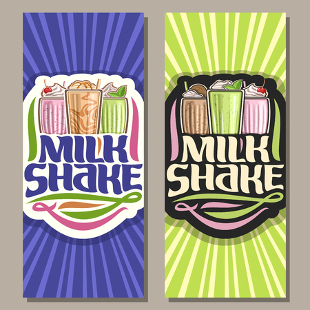 Vector banners for Milk Shake, 3 assorted cocktails with soft serve ice cream decorated cherry and leaves of fresh spearmint, original lettering for words milk shake, illustration of cold beverages. Illustration