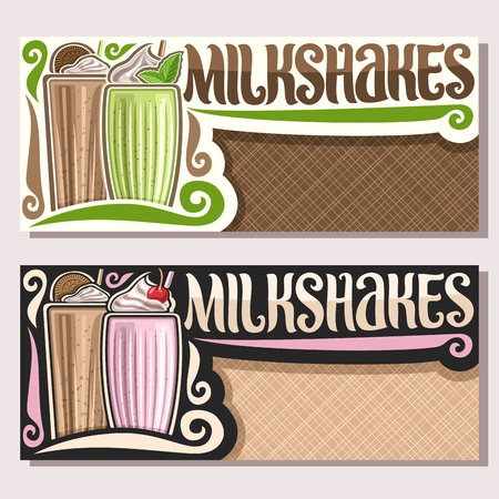 Vector banners for Milkshakes with copy space, flyers with dairy cocktails decorated choko cookies and leaves of fresh spearmint, original lettering for word milkshakes, illustration of cold beverages