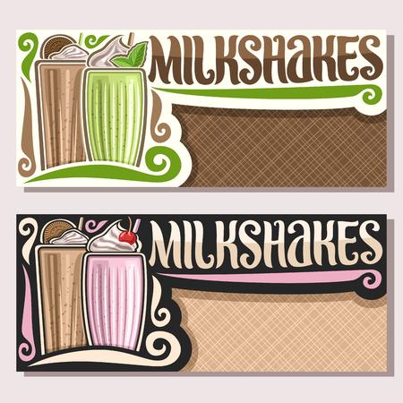 Vektor-Banner für Milchshakes mit Kopienraum, Flyer mit Milchcocktails verzierten Choko-Kekse und Blätter von frischer grüner Minze, Originalbeschriftung für Wortmilchshakes, Illustration von kalten Getränken