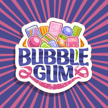 Vector logo for Bubble Gum, white sign with pile of colorful chewing bubblegums and fruit gummy candies, original brush typeface for words bubble gum, vivid illustration of variety kid sweets. Illustration