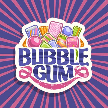 Vector logo voor kauwgom, wit bord met stapel kleurrijke kauwgom kauwgom en fruit gummy snoepjes, origineel penseel lettertype voor woorden kauwgom, levendige illustratie van verschillende kindersnoepjes.