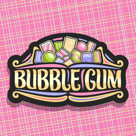 Vector logo for Bubble Gum, dark vintage sign with pile of colorful chewing bubblegums and fruit gummy candies, original brush typeface for words bubble gum, bright illustration of variety kid sweets.