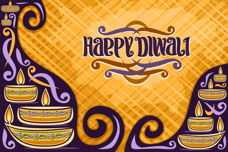 Vector greeting card for Indian Diwali with copy space, placard for religious hindu holiday with oil lamp, original brush typeface for quote message - happy diwali, illustration for festival of lights Ilustração