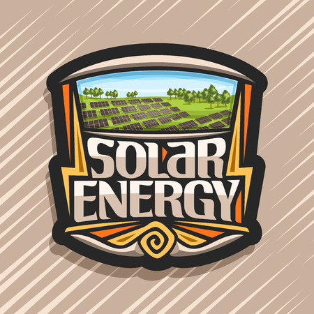 Vector logo for Solar Energy, dark tag with many photovoltaic panels on green summer hills with trees, original lettering for words solar energy, design illustration for alternative renewable power.
