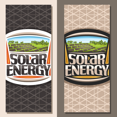 Vector banners for Solar Energy, templates with many photovoltaic panels on green summer hill with trees, original lettering for words solar energy, design illustration for alternative renewable power
