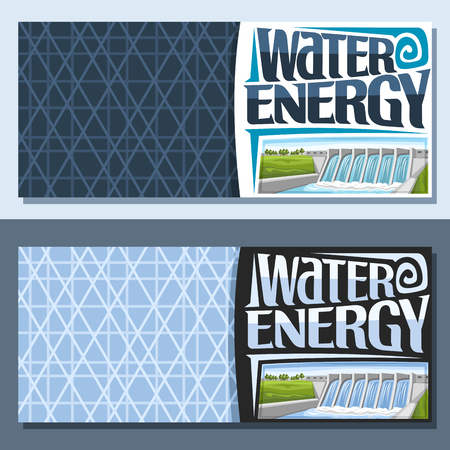 Vector banners for Water Energy with copy space, brochures with small hydroelectric powerplant on summer hills, original lettering - water energy, illustration for sustainable hydro electric plant.