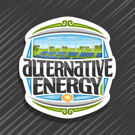 Vector logo for Alternative Energy, white sticker with many solar panels and wind turbines in green summer park, original lettering for words alternative energy, illustration for clean recycle power.