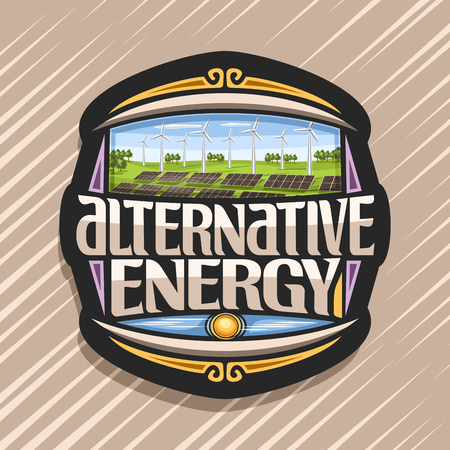 Vector logo for Alternative Energy, dark tag with array solar panels and windturbine in green summer park, original lettering for text alternative energy, illustration for clean ecological power.