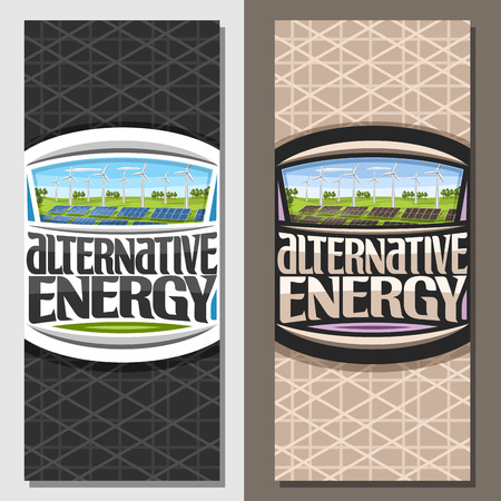 Vector banners for Alternative Energy, brochure with array solar panels and wind turbines in green summer park, original lettering for text alternative energy, illustration for clean ecological power. Illustration