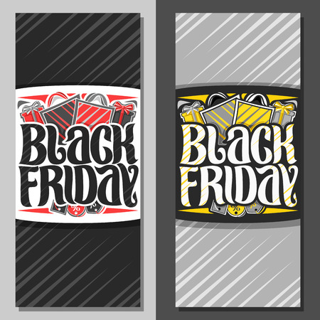Vector vertical banners for Black Friday, flyer with red & yellow shopping bags, original brush typeface for words black friday, simple minimalistic concept for season sale on grey abstract background Illustration