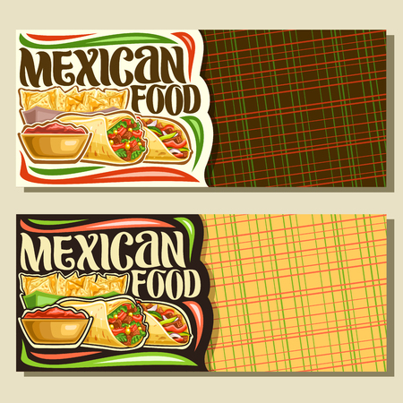 Vector banners for Mexican Food with copy space, vouchers with stuffed burrito with veggies, delicious taco with red pepper, triangle nachos on plate, original brush typeface for words mexican food. Banque d'images - 113960688