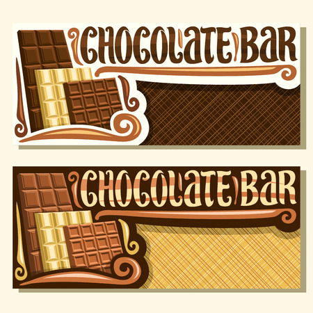 Vector banners for Chocolate Bar with copy space, brochures with choice of 3 different kind of whole premium chocolate bars, original brush lettering for words chocolate bar, set of cocoa desserts.