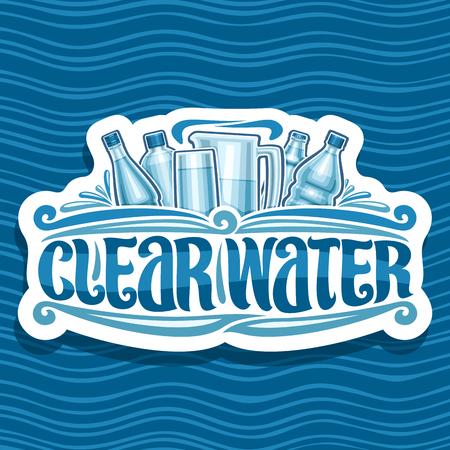 Vector para Clear Water, placa retro de papel cortado con diferentes botellas de vidrio y plástico, tipografía de pincel original para palabras agua clara, letrero blanco para grandes almacenes sobre fondo azul de onda