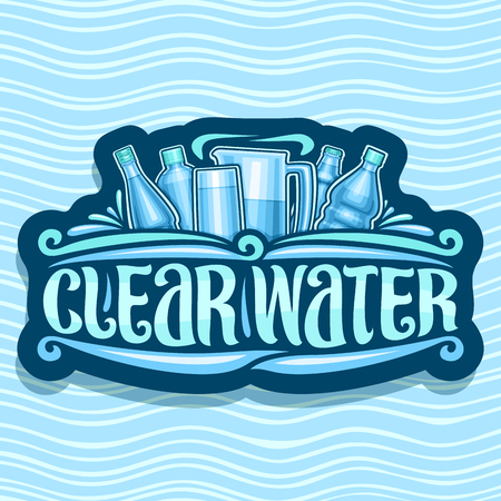 Vector for Clear Water, dark retro sticker with various plastic bottles and jug with glass, original brush lettering for words clear water, signboard for department store on blue wave background.