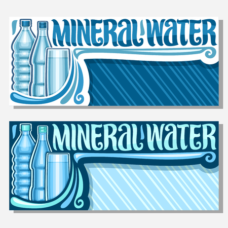 Vector banners for Mineral Water with copy space, coupons with glass and plastic bottles and full cup, original brush lettering for words mineral water, blue vouchers for sale in department store.