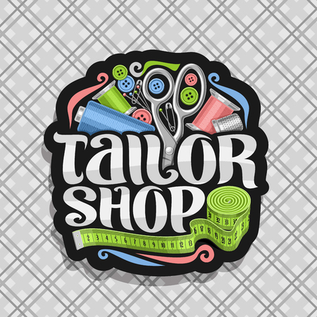 Vector for Tailor Shop, dark sticker with set of sewing equipment, roll of green measure tape for suit apparel, original brush typeface for words tailor shop, sign board for menswear boutique. Vektorové ilustrace