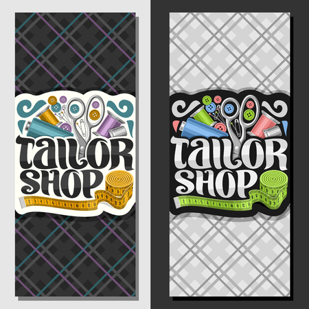Vector banners for Tailor Shop, leaflets with set of sewing equipment, roll of measure tape for suit apparel, original brush typeface for words tailor shop, grey vouchers for menswear boutique.