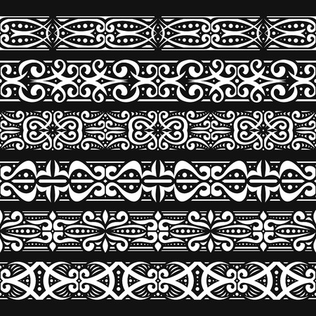 Vector set of white seamless borders, 6 decorative repeat ribbons of oriental style, design elements for create frames, ornate tape decorations with arabic ornament on black background.