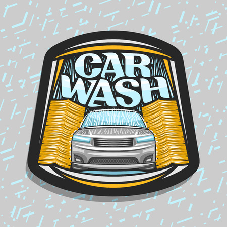 Vector for automatic Car Wash, poster with illustration of sport car, flowing water and yellow rotating brushing rollers, original typeface for blue words car wash, on grey abstract background.