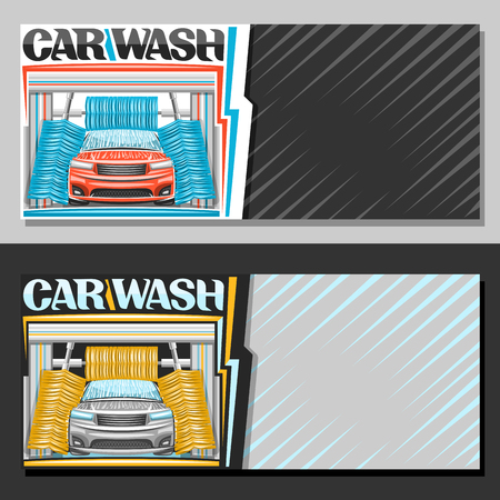 Vector banners for automatic Car Wash with copy space, illustration of red sport car, flowing water, yellow rotating brushing rollers, original typeface for blue words car wash, on abstract background