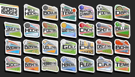 Ensemble d'images vectorielles de badges sportifs, 27 signes de différents jeux de sport avec lettrage original, collection d'autocollants isolés avec ballons de sport volants, stades d'athlétisme, patinoire et piscine.