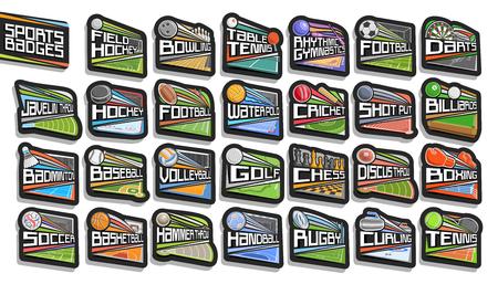 Vector conjunto de insignias deportivas, 27 signos de diferentes tipos de juegos deportivos con letras originales, colección de pegatinas aisladas con pelotas deportivas voladoras, estadios de atletismo, pista de hielo y piscina.