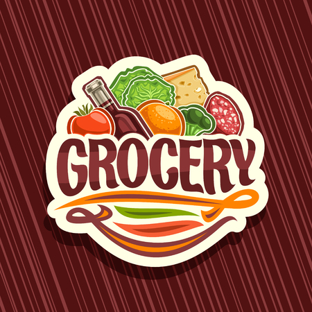 Vector for Grocery Store, white decorative signboard with pile of fresh variety farming fruits and vegetables, original typeface for word grocery, sticker for farmer department in hypermarket.