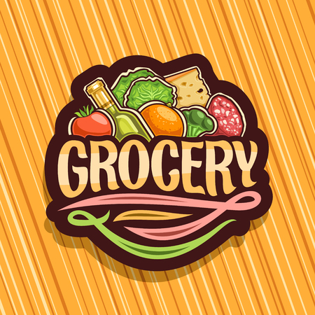Vector for Grocery Store, dark decorative signboard with heap of fresh variety farming fruits and vegetables, original brush typeface for word grocery, icon for farmer department in hypermarket.