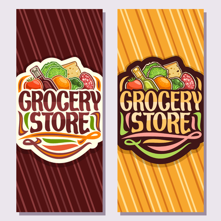 Vector banners for Grocery Store, leaflets with heap of fresh various farming fruits and vegetables, original brush typeface for words grocery store, brochures for farmer department in hypermarket.