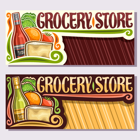 Vector banners for Grocery Store with copy space, leaflets with red and white wine, fresh farming veggies, original typeface for words grocery store, brochures for farmer department in hypermarket. Çizim