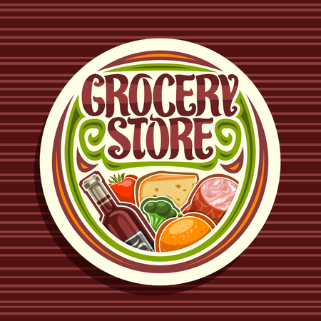 Vector for Grocery Store, white round signage with pile of fresh variety farming fruits and vegetables, original typeface for words grocery store, sticker for farmer department in hypermarket.