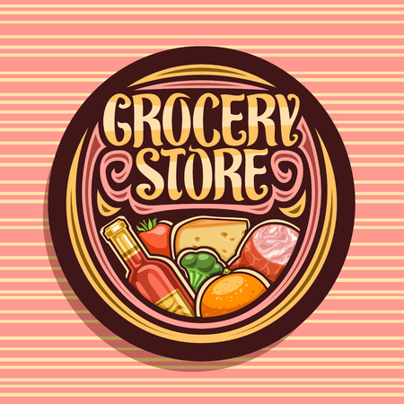 Vector for Grocery Store, dark round signboard with heap of fresh variety farming fruits and vegetables, original typeface for words grocery store, label for farmer department in hypermarket.