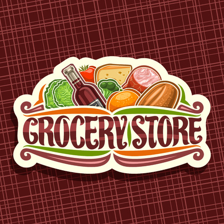 Vector for Grocery Store, white decorative signage with heap of fresh variety farming fruits and vegetables, original typeface for words grocery store, label for farmer department in hypermarket.