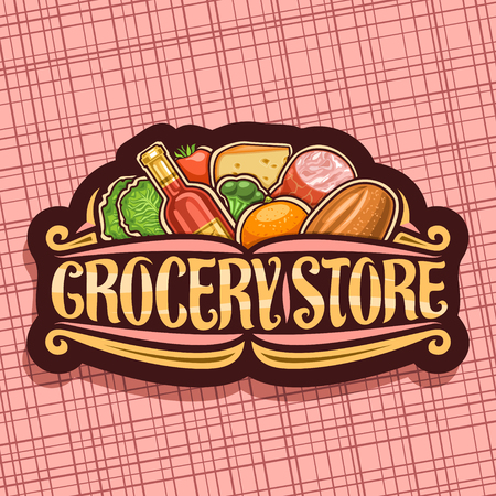 Vector for Grocery Store, dark retro signage with pile of fresh variety farming fruits and vegetables, original brush typeface for words grocery store, tag for farmer department in hypermarket.