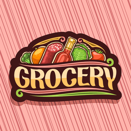 Vector for Grocery Store, dark decorative signboard with variety farming fruits and vegetables, bottle of red wine, original typeface for word grocery, icon for farmer department in hypermarket